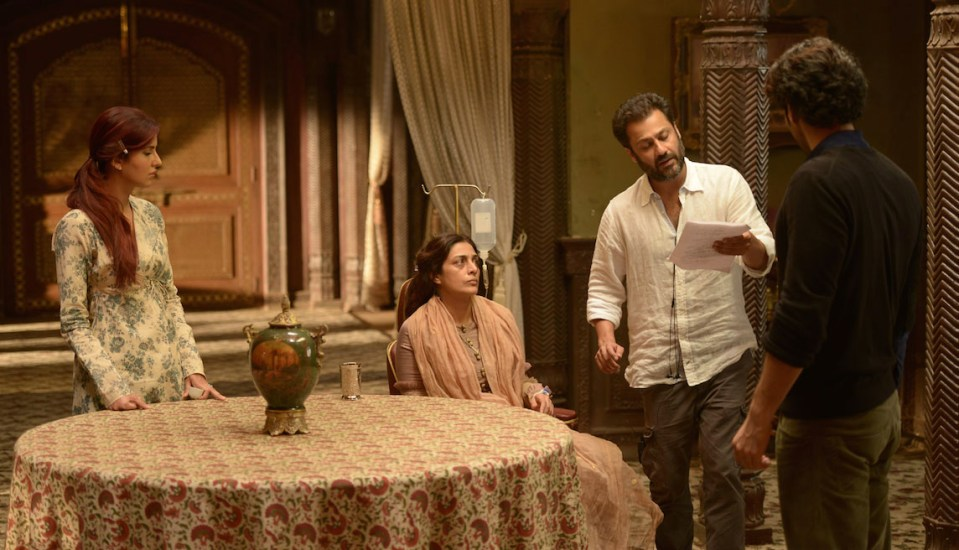 Katrina Kaif, Tabu, Abhishek Kapoor and Aditya Roy Kapoor on the sets of Fitoor