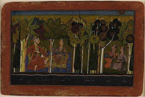 A Nobleman and His Devoted Wife Seated in the Forest; Two Female Musicians Attend