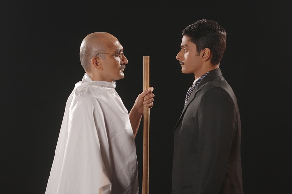 Chirag Vora and Abhishek Krishnan as the older and younger versions of Mahatma Gandhi