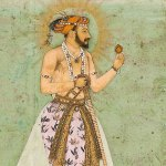 Shah Jahan standing on a globe, Hashim, 1629, Freer Sackler Gallery