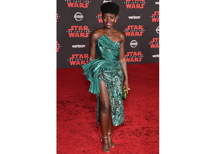 "Fashion, Featured, Online Exclusive, Red Carpet, Style, Lupita Nyong'o in Halpern at the ""Star Wars – The Last Jedi"" LA Premiere"