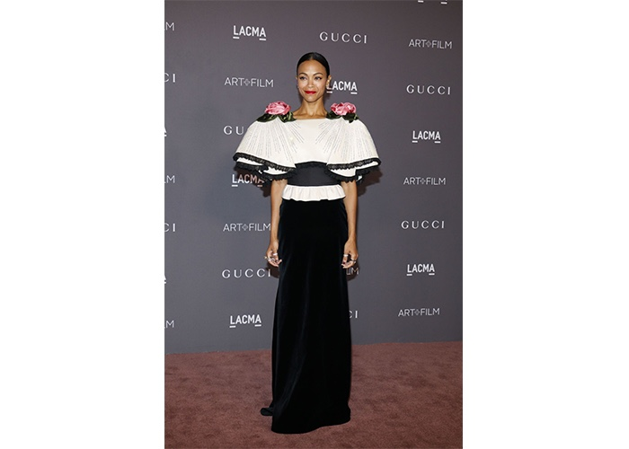 Fashion, Featured, Online Exclusive, Red Carpet, Style, Zoe Saldana in Gucci at the LACMA Art+Film Gala