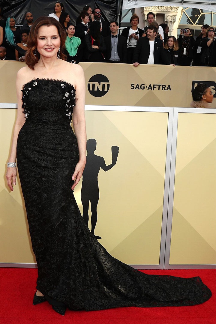 Geena Davis, Anel Verna, 2018, 24th Annual Screen Actors Guild Awards, Fashion, Featured, Online Exclusive, Red Carpet, SAG Awards, Screen Actors Guild Awards, Style