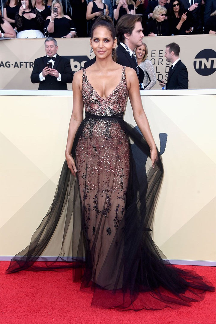 Halle Berry, Pamella Roland, 2018, 24th Annual Screen Actors Guild Awards, Fashion, Featured, Online Exclusive, Red Carpet, SAG Awards, Screen Actors Guild Awards, Style
