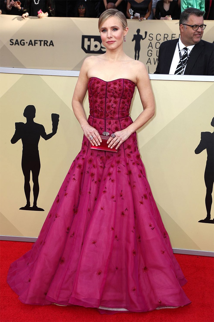 Kristen Bell, J. Mendel, 2018, 24th Annual Screen Actors Guild Awards, Fashion, Featured, Online Exclusive, Red Carpet, SAG Awards, Screen Actors Guild Awards, Style