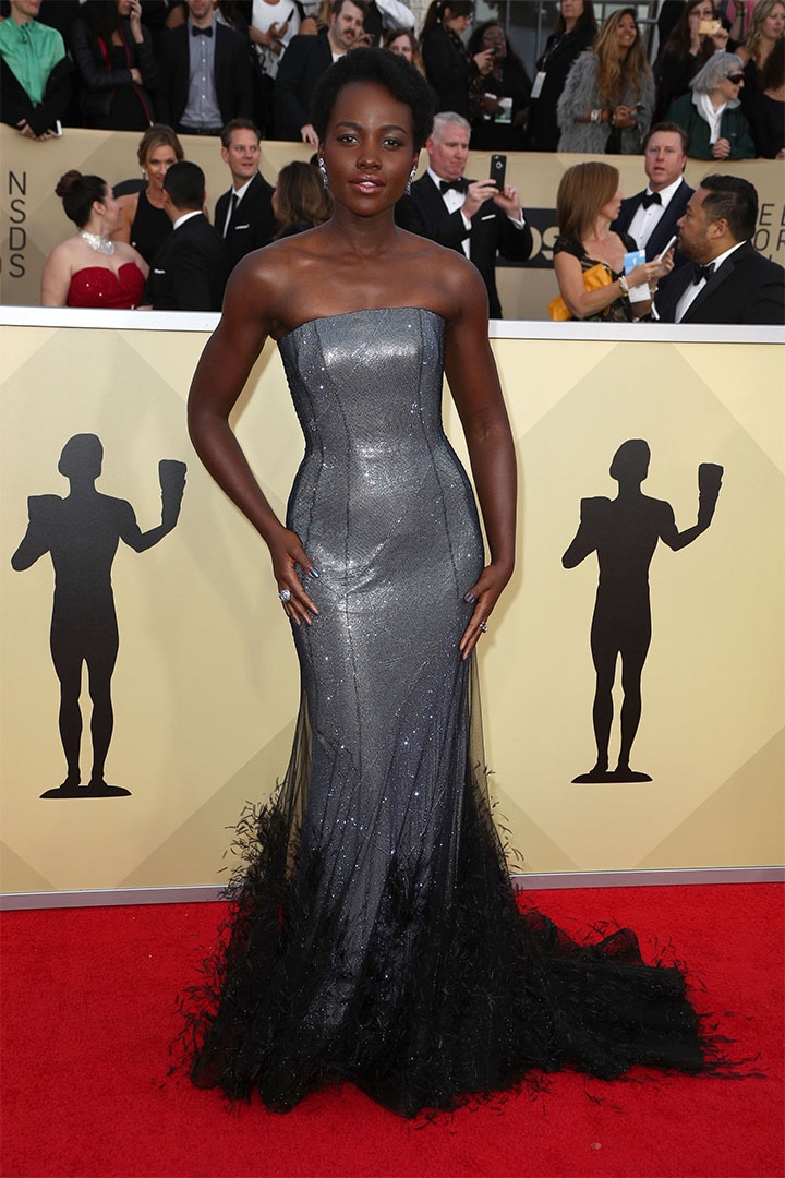 Lupita Nyong'o, Ralph & Russo Couture, 2018, 24th Annual Screen Actors Guild Awards, Fashion, Featured, Online Exclusive, Red Carpet, SAG Awards, Screen Actors Guild Awards, Style