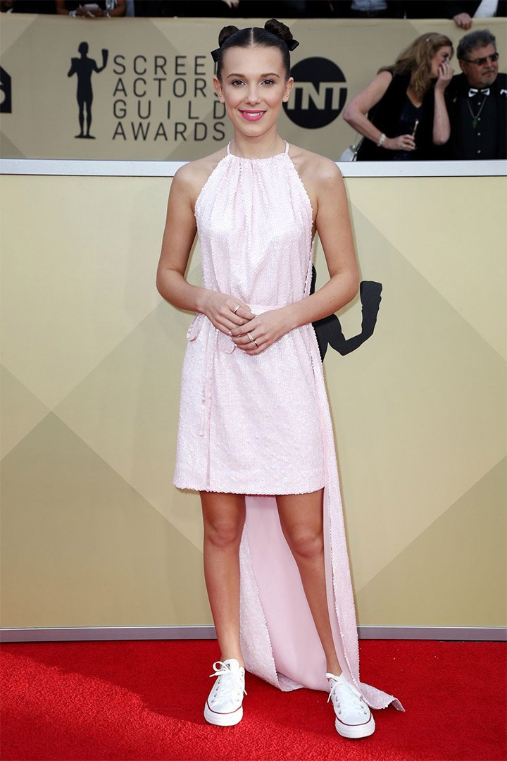 Millie Bobby Brown, Calvin Klein by Appointment, 2018, 24th Annual Screen Actors Guild Awards, Fashion, Featured, Online Exclusive, Red Carpet, SAG Awards, Screen Actors Guild Awards, Style