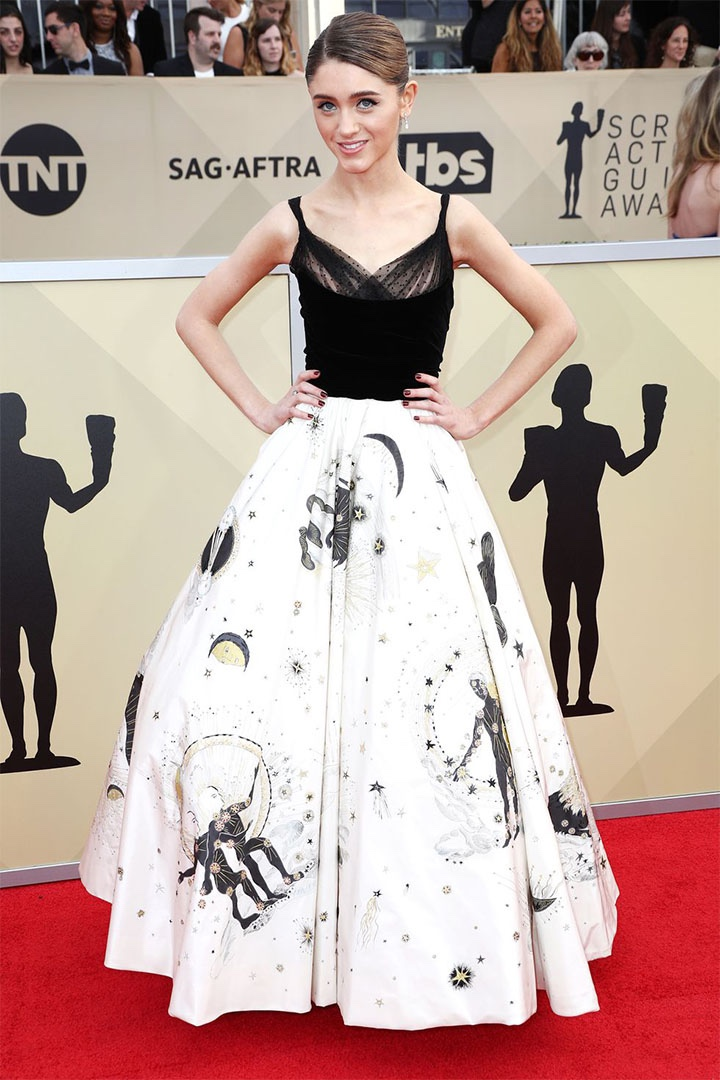 Natalia Dyer, Christian Dior Couture, 2018, 24th Annual Screen Actors Guild Awards, Fashion, Featured, Online Exclusive, Red Carpet, SAG Awards, Screen Actors Guild Awards, Style