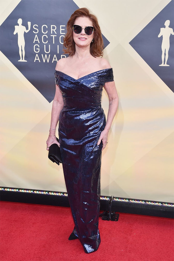 Susan Sarandon, Alberta Ferretti, 2018, 24th Annual Screen Actors Guild Awards, Fashion, Featured, Online Exclusive, Red Carpet, SAG Awards, Screen Actors Guild Awards, Style