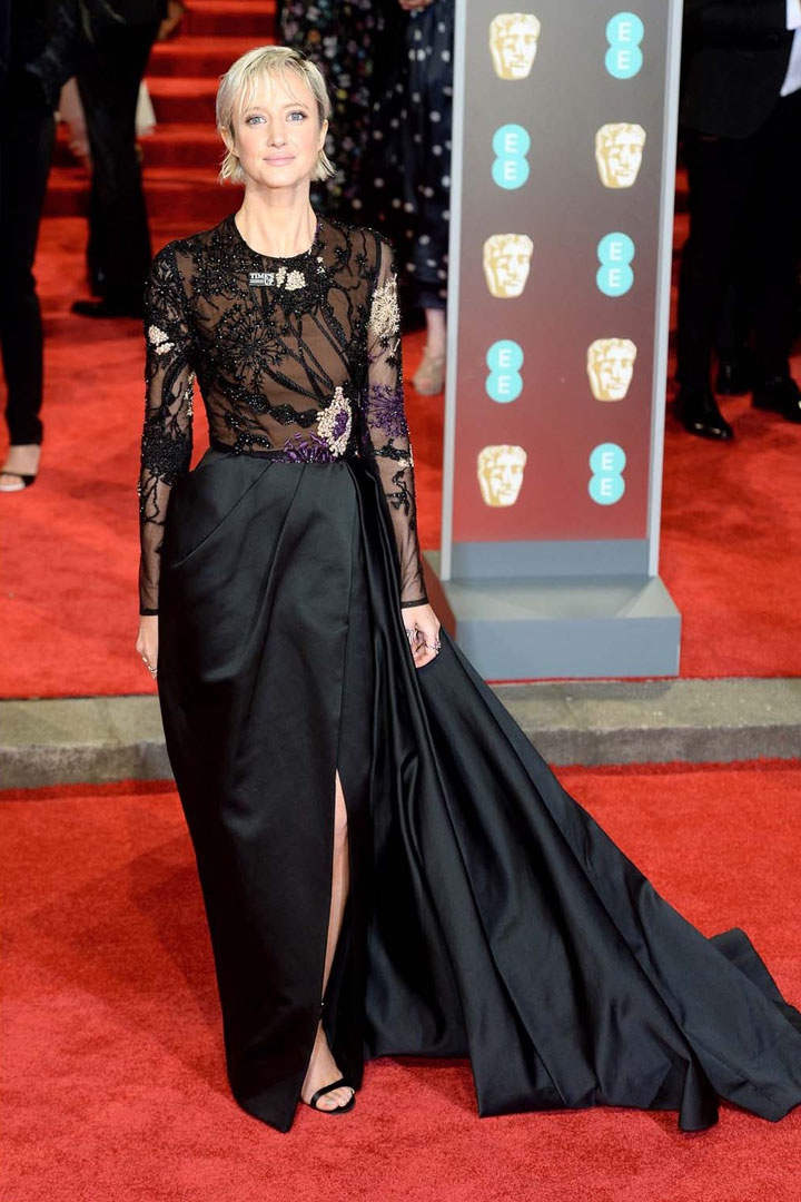 Andrea Riseborough, Elie Saab, Awards Show, BAFTA, BAFTAs 2018, Black, British Academy Film Awards, Cinema, Entertainment, Fashion, Featured, Film, Hollywood, Movies, Online Exclusive, Style, Time's Up