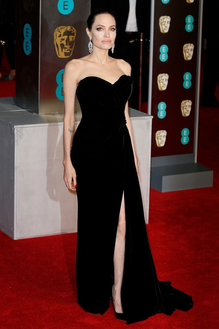 Angelina Jolie, Ralph & Russo, Awards Show, BAFTA, BAFTAs 2018, Black, British Academy Film Awards, Cinema, Entertainment, Fashion, Featured, Film, Hollywood, Movies, Online Exclusive, Style, Time's Up