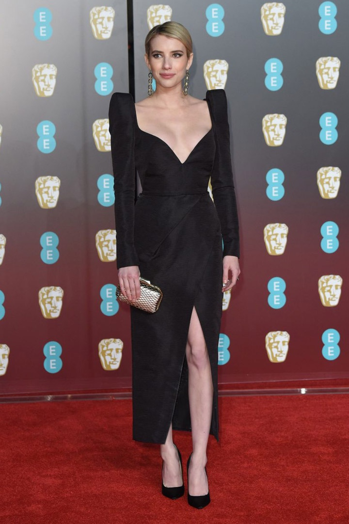 Emma Roberts, Schiaparelli, Awards Show, BAFTA, BAFTAs 2018, Black, British Academy Film Awards, Cinema, Entertainment, Fashion, Featured, Film, Hollywood, Movies, Online Exclusive, Style, Time's Up