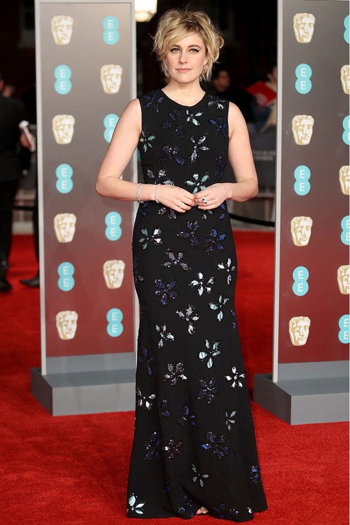 Greta Gerwig, Jonathan Cohen, Awards Show, BAFTA, BAFTAs 2018, Black, British Academy Film Awards, Cinema, Entertainment, Fashion, Featured, Film, Hollywood, Movies, Online Exclusive, Style, Time's Up