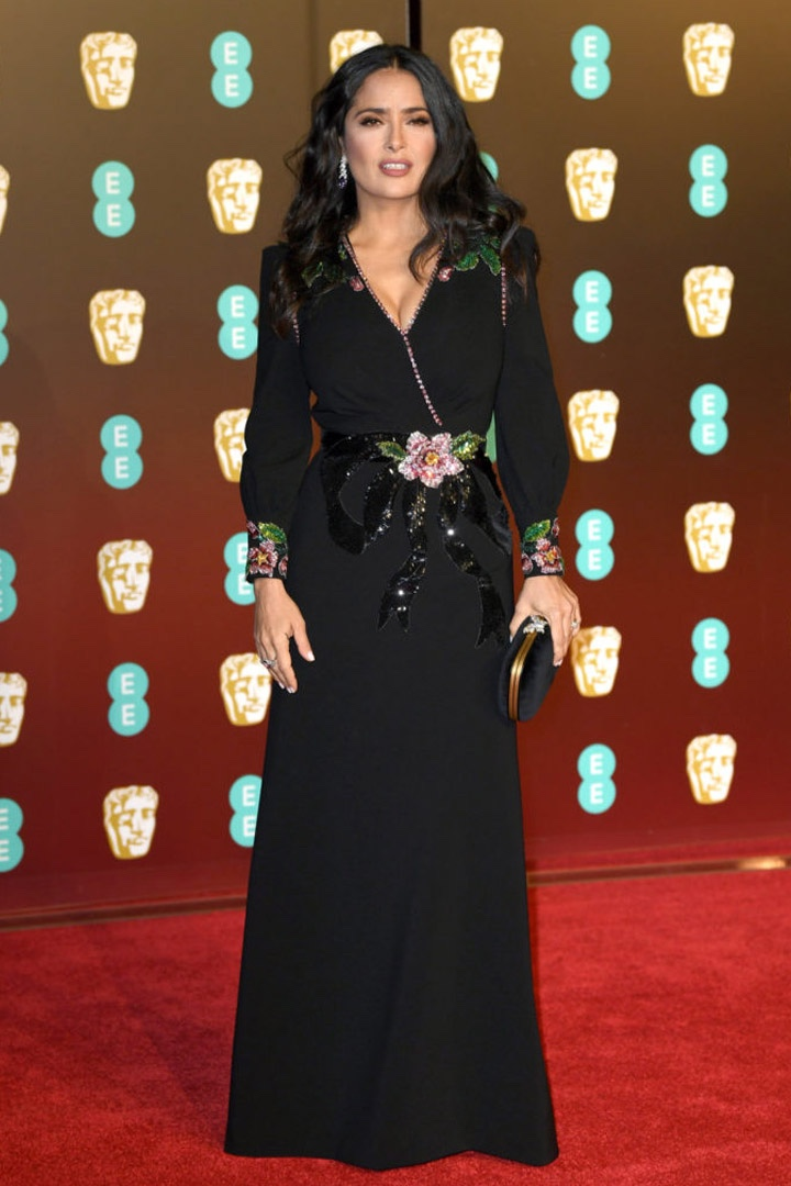 Salma Hayek, Gucci, Awards Show, BAFTA, BAFTAs 2018, Black, British Academy Film Awards, Cinema, Entertainment, Fashion, Featured, Film, Hollywood, Movies, Online Exclusive, Style, Time's Up
