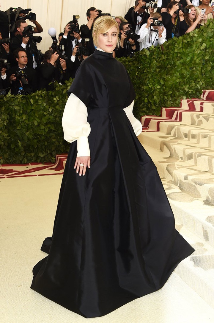 Catholic, Catholicism, Designers, Fashion, Fashion's Biggest Night Out, Heavenly Bodies: Fashion and the Catholic Imagination, Hollywood, Mat Gala, Met Ball, Met Ball 2018, Met Gala 2018, Metropolitan Museum of Art's Costume Institute Gala, Metropolitan Museum of Art's Costume Institute Gala 2018, Papal, Religion, Style, The Vatican, Vestments, Greta Gerwig, The Row