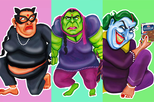 Art, Artist, DC Comics, Dead-phool auntyji, Featured, immigrants, immigration, Ishpider Bhen, Kully Rehal, London, Marvel characters, Online Exclusive, Superhero Aunties, superheroes, The Incredible Hulkwinder, women power, Women with Verve