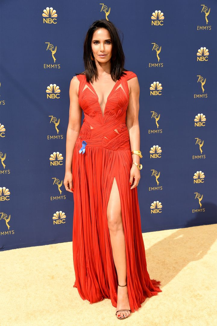 Padma Lakshmi in J. Mendel, 70th Annual Primetime Emmy Awards, Betty White, Emmys 2018, Fashion, Featured, Glenn Weiss, Hannah Gadsby, highlights, Jav Svendsen, Online Exclusive, Style, The Marvellous Mrs. Maisel, top moments, We solved it, Diversity