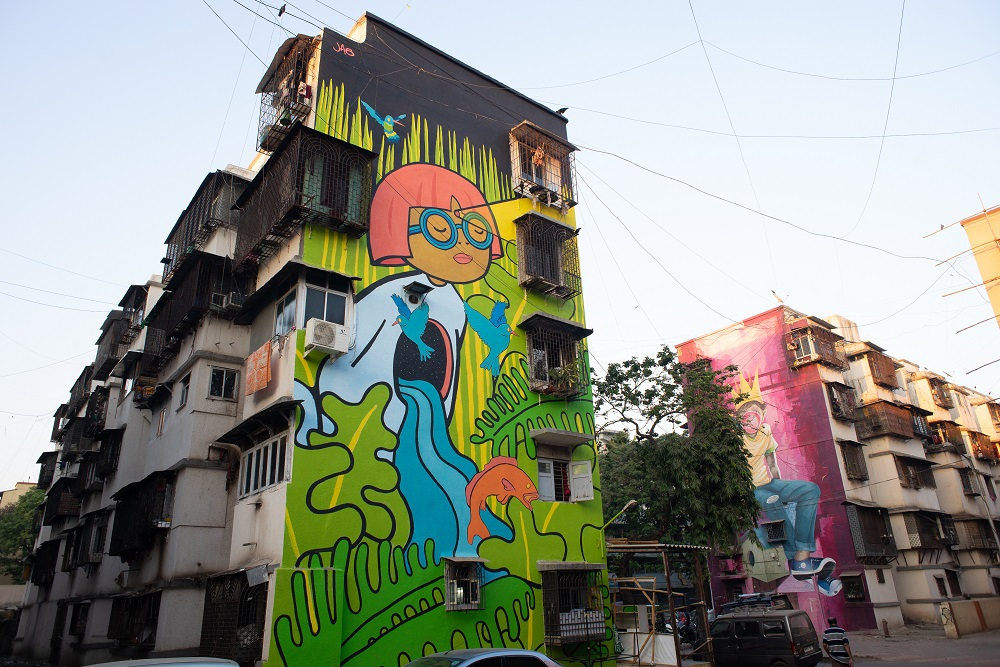 Art, Don't Mess With Me, Featured, Grafitti, Installation, Jas Charanjiva, Kulture Shop, Mahim East, Mumbai, Mural, Online Exclusive, St+art Festival 2018, St+Art India, St+art India Foundation, The Pink Lady