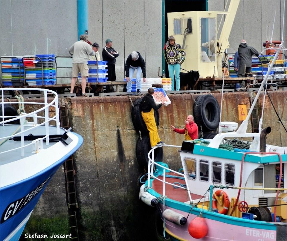 Vissersboten aan de kade in Le Guilvinec.