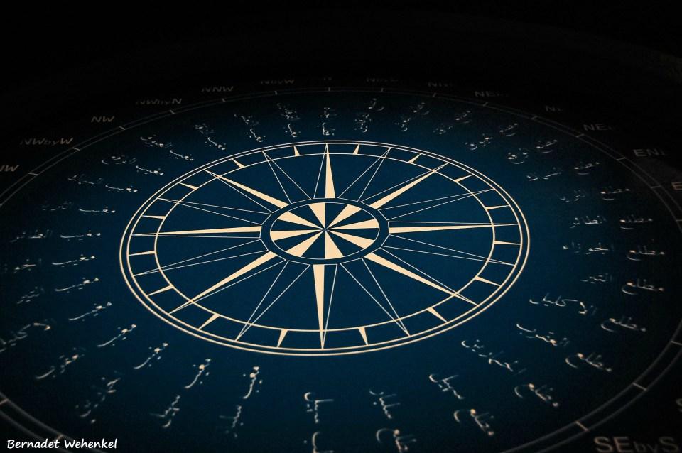 Dit groot kompas maakte deel uit van een tijdelijke tentoonstelling over navigatie in de scheepvaart.