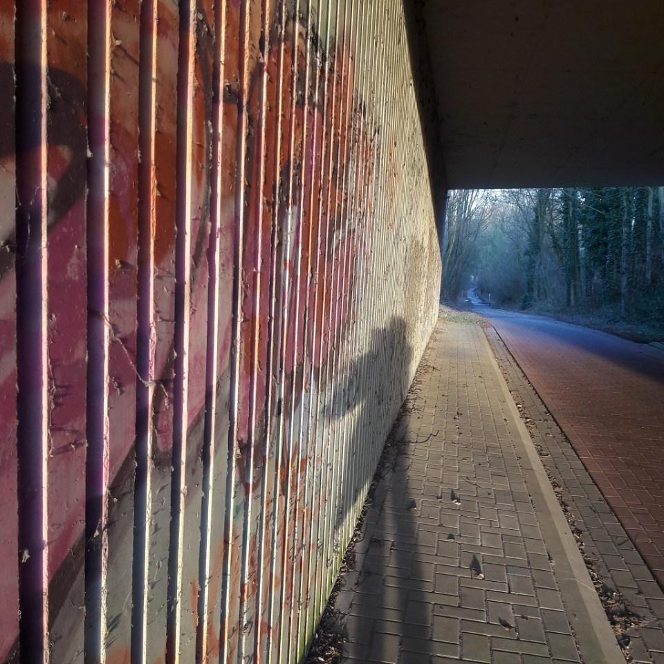 Under the bridge at sunset