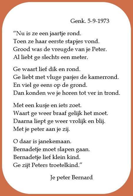 Gedicht van mijn peter Bernard.