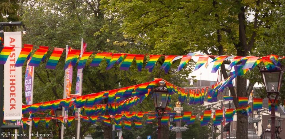 Vlaggen aan de Amstelhoeck