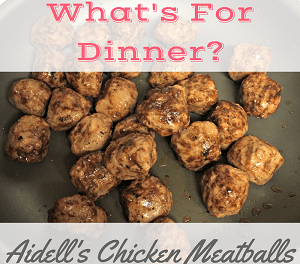 "<p style=""text-align: center;""><span style=""color: #ff5e78;""><strong><span style=""font-family: 'comic sans ms', sans-serif;"">What's for Dinner?(Aidell's Chicken Meatballs)</span></strong></span></p>"