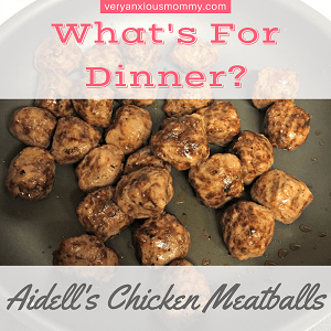 """<p style=""""text-align: center;""""><span style=""""color: #ff5e78;""""><strong><span style=""""font-family: 'comic sans ms', sans-serif;"""">What's for Dinner?(Aidell's Chicken Meatballs)</span></strong></span></p>"""