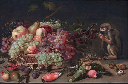 Fruta, pájaros y mono. Colección privada.