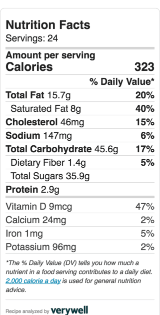 Nutritional Information for Texas Pecan Sheet Cake. Serves 24 small or 12 large slices.