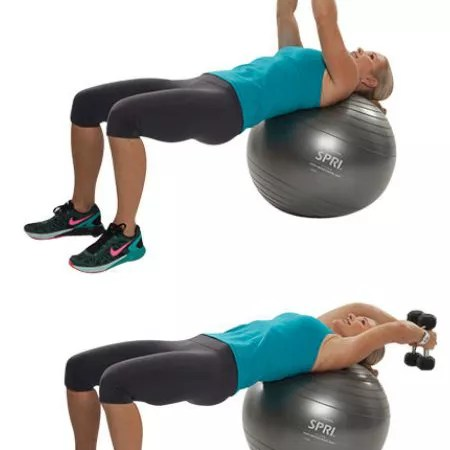 overhead pull on the stability ball