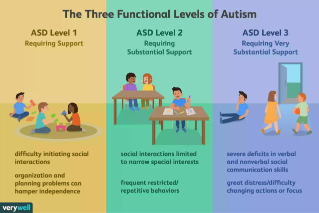 3 functional levels of autism