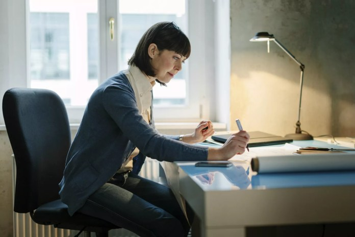 Woman sitting at a desk