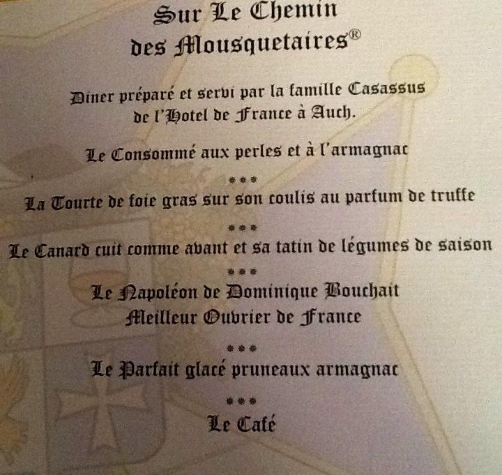 menu dîner 57ème Grand Chapitre-Armagnac