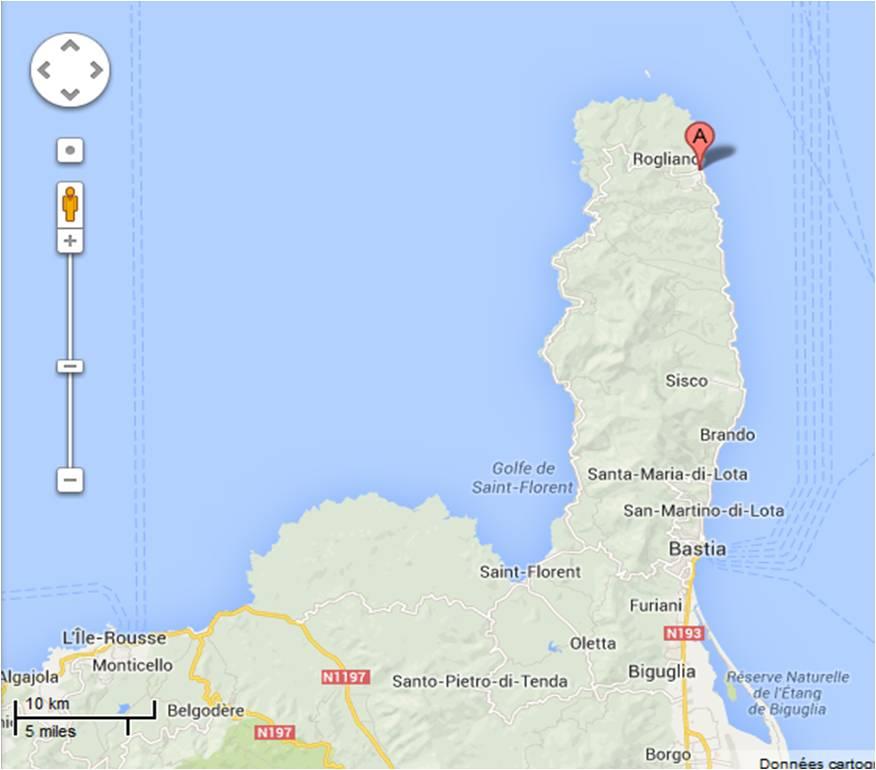 carte google pour situer Rogliano en Corse