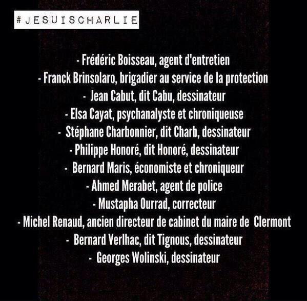 Noms des victimes Paris Jesuischarlie CharlieHebdo
