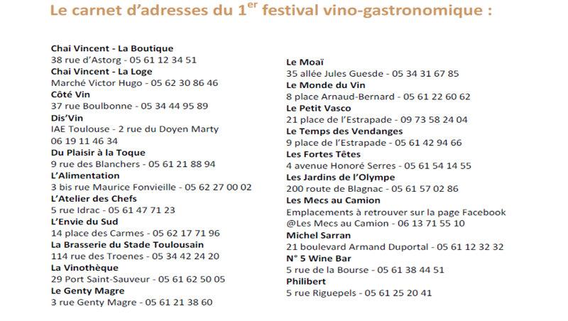 Carnet adresses festival vino gastronomique Corbieres Toulouse