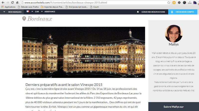 article Derniers préparatifs avant le salon Vinexpo 2015 pour Accorhotels