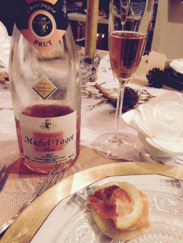 Champagne rosé - Michel Fagot - Champagnes de Vignerons - saumon fumé