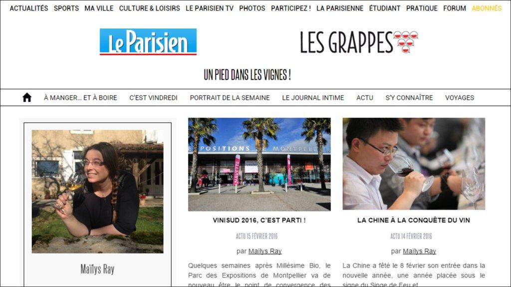 Ma page auteur sur le site Les Grappes x Le Parisien