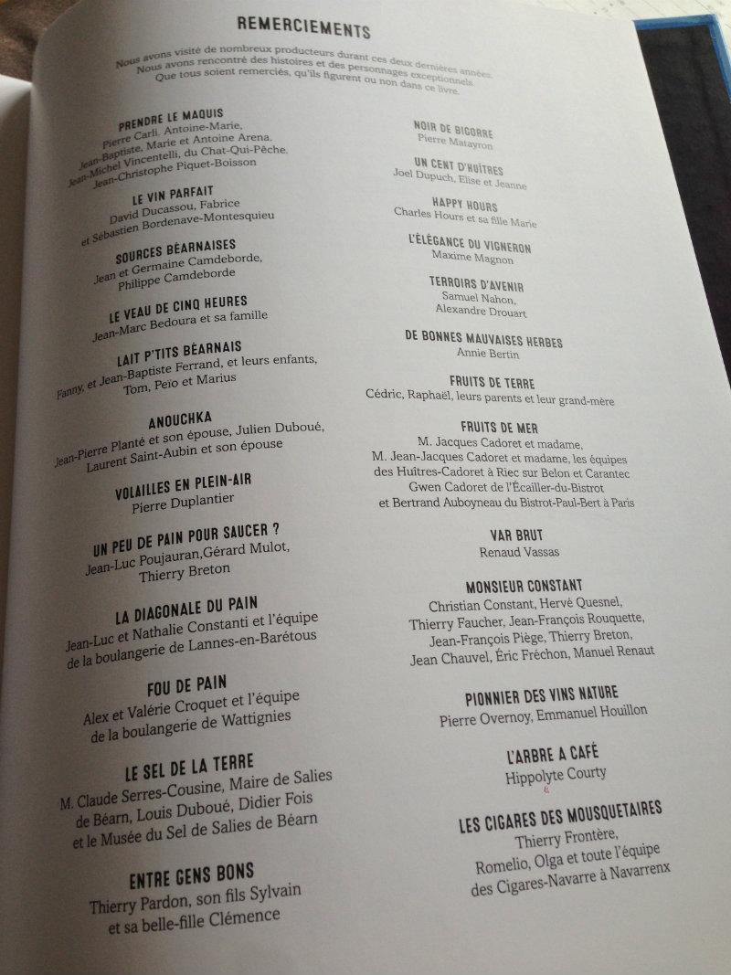Page Remerciements - Frères de Terroirs, carnet de croqueurs-2 Eté-Automne
