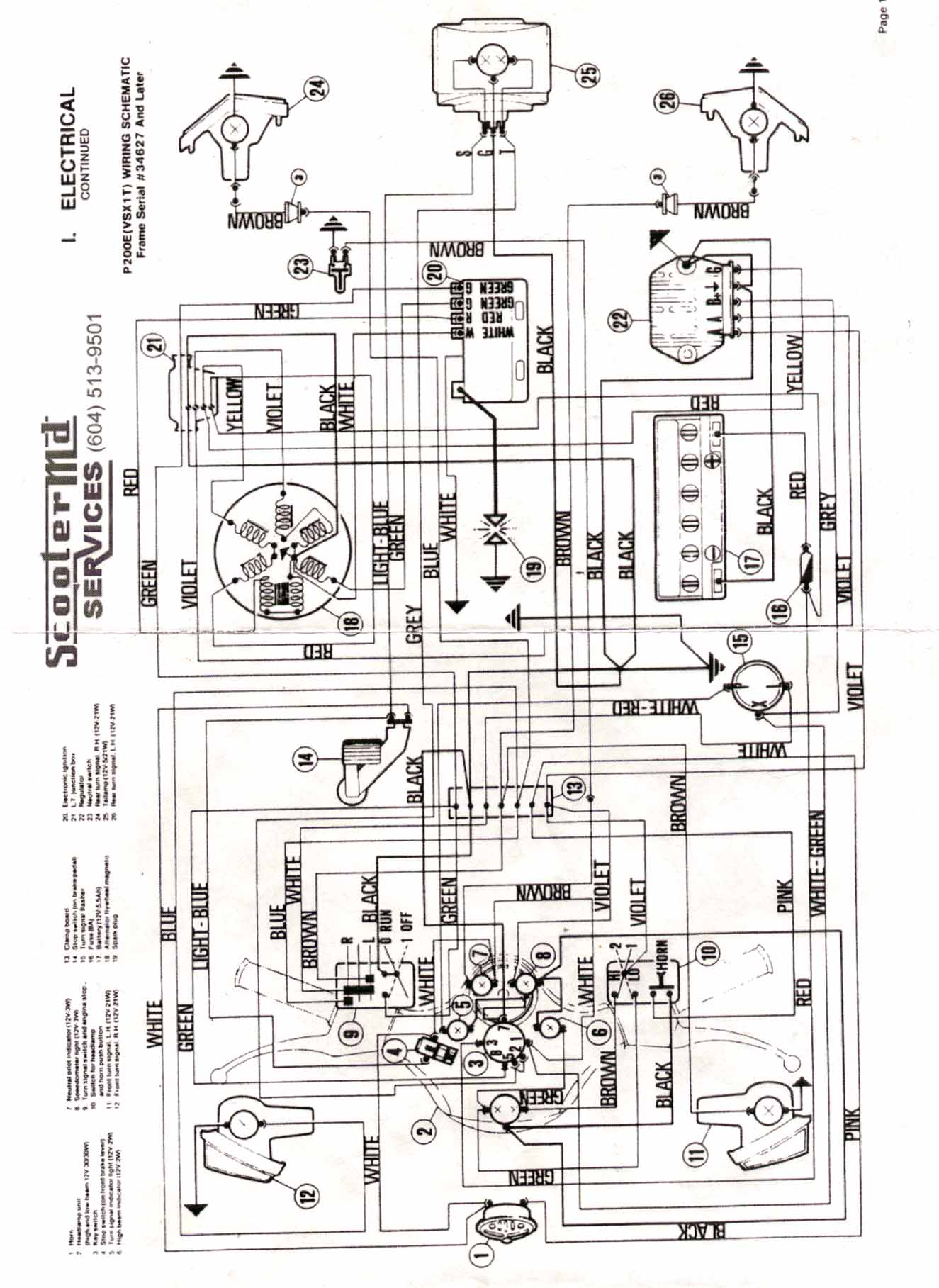 E 100 Scooter Wire Schematic