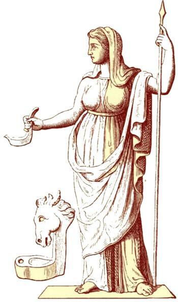 imagen de vestal con el fuego sagrado