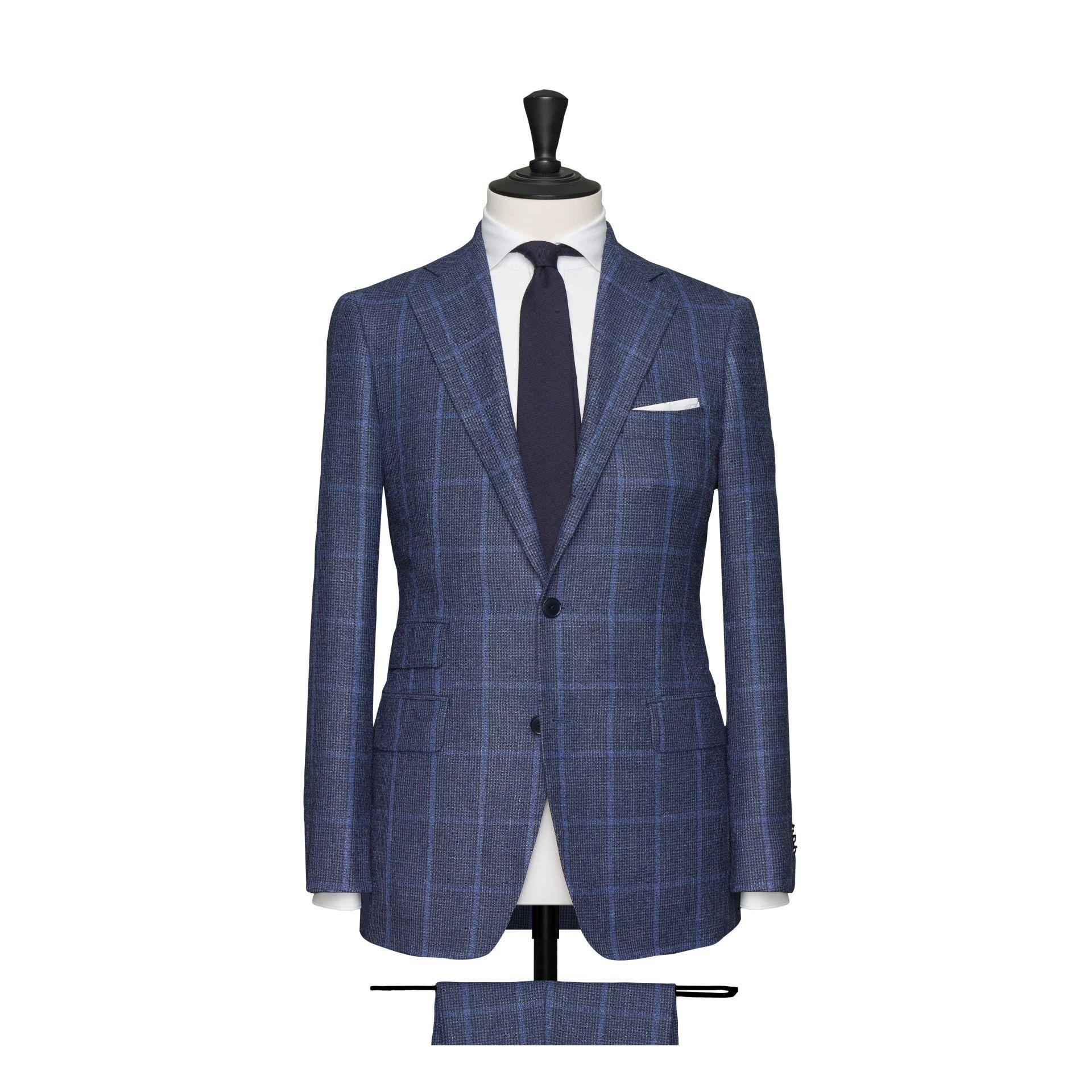 Costume grands carreaux, 2 boutons, 3 poches - Bleu indigo