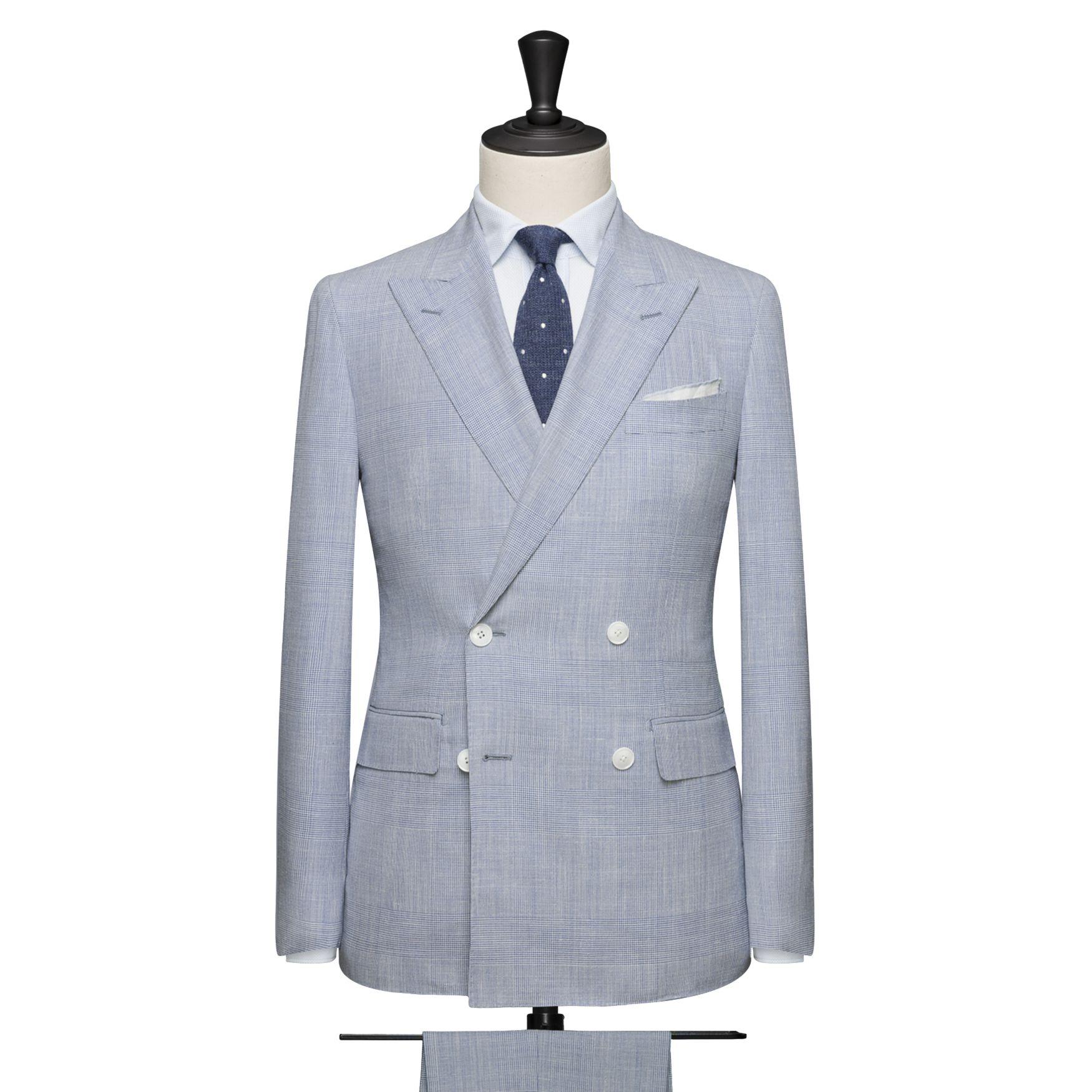 Costume croisé double boutonnière, tissu Fil à Fil - Bleu glacier (Printemps-Été)