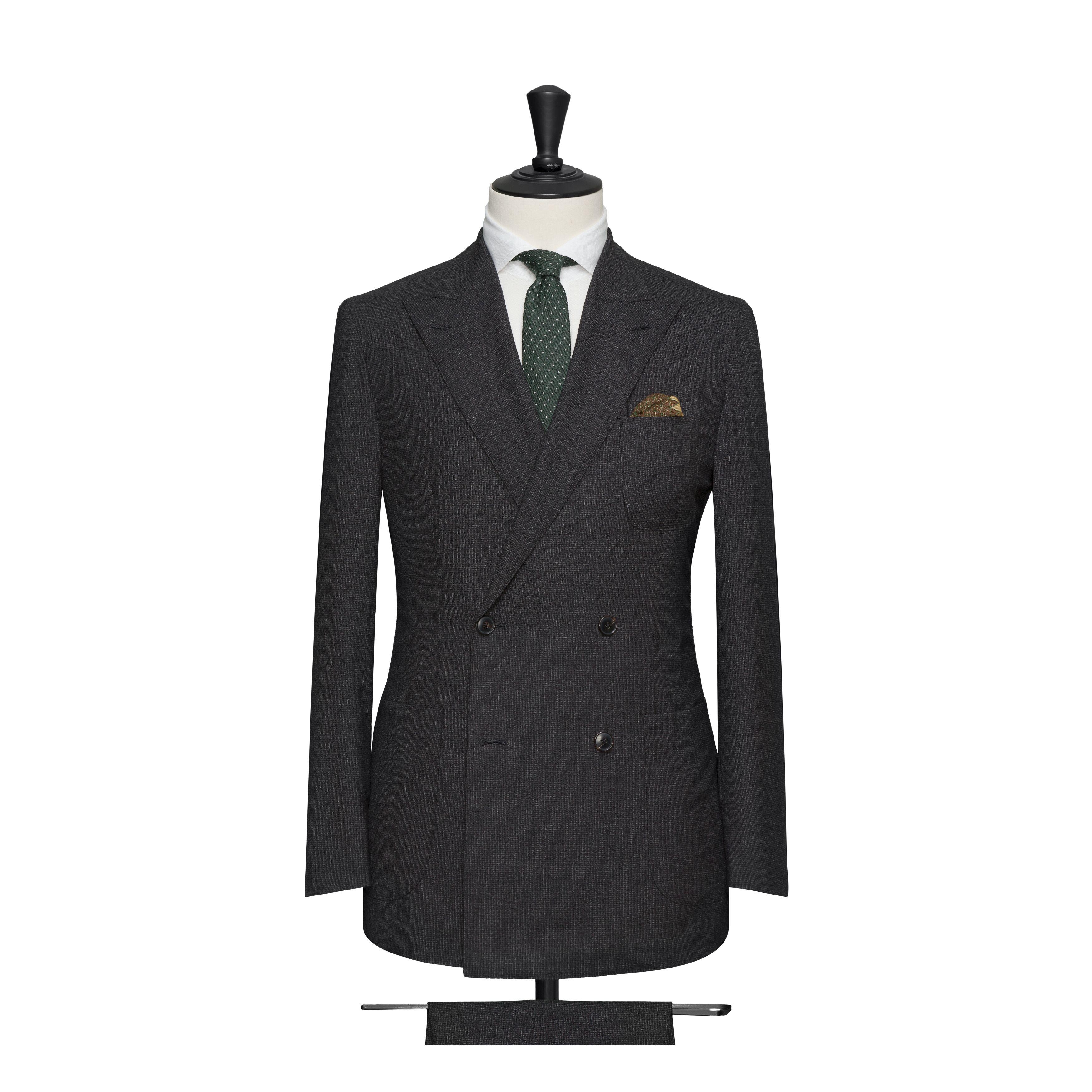costume croisé gris anthracite double boutonnière poches sans rabats