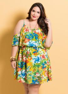 vestido ciganinha estampa tropical com alcas