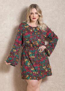 vestido mangas sino floral quintess plus size