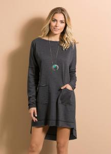 vestido mullet com bolsos cinza